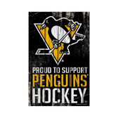 Pittsburgh Penguins Sign 11x17 Wood Proud to Support Design