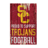 USC Trojans Sign 11x17 Wood Proud to Support Design
