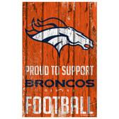 Denver Broncos Sign 11x17 Wood Proud to Support Design