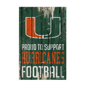 Miami Hurricanes Sign 11x17 Wood Proud to Support Design