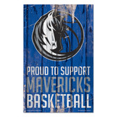 Dallas Mavericks  Sign 11x17 Wood Proud to Support Design
