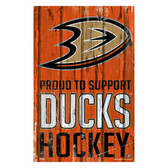 Anaheim Ducks Sign 11x17 Wood Proud to Support Design