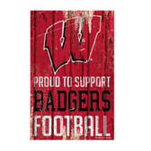Wisconsin Badgers Sign 11x17 Wood Proud to Support Design