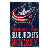 Columbus Blue Jackets Sign 11x17 Wood Proud to Support Design