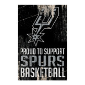 San Antonio Spurs Sign 11x17 Wood Proud to Support Design