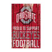 Ohio State Buckeyes Sign 11x17 Wood Proud to Support Design