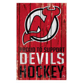 New Jersey Devils Sign 11x17 Wood Proud to Support Design