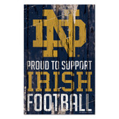 Notre Dame Fighting Irish Sign 11x17 Wood Proud to Support Design