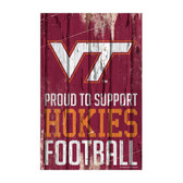Virginia Tech Hokies Sign 11x17 Wood Proud to Support Design