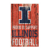 Illinois Fighting Illini Sign 11x17 Wood Proud to Support Design
