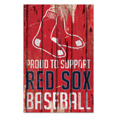 Boston Red Sox Sign 11x17 Wood Proud to Support Design