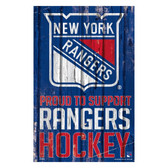 New York Rangers Sign 11x17 Wood Proud to Support Design