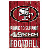 San Francisco 49ers Sign 11x17 Wood Proud to Support Design