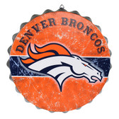 Denver Broncos Sign Bottle Cap Style Distressed
