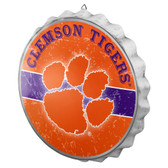 Clemson Tigers Sign Bottle Cap Style Distressed