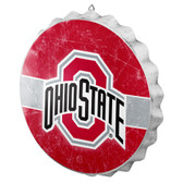 Ohio State Buckeyes Sign Bottle Cap Style Distressed