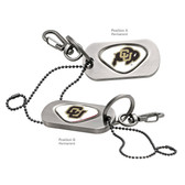"Colorado Buffaloes Dog Tag Key Chain UNIV. COLORADO RALPHIE BUFFALO/UNIV COLORADO ""CU"""
