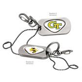 "Georgia Tech Yellow Jackets Dog Tag Key Chain GEORGIA TECH ""GT""/GEORGIA TECH BEE"