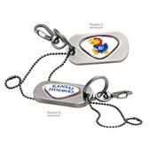 Kansas Jayhawks Dog Tag Key Chain KANSAS MASCOT  JAYHAWKS/KANSAS JAYHAWKS WORD