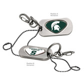 Michigan State University Dog Tag Key Chain MICHIGAN STATE SPARTY/MICHIGAN STATE CAPITAL S