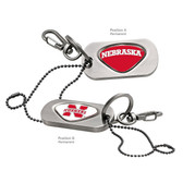 Nebraska Cornhuskers Dog Tag Key Chain NEBRASKA HUSKERS/NEBRASKA WORD