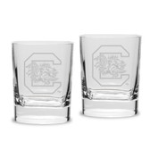 South Carolina Fighting Gamecocks Luigi Bormioli 11.75 oz Square Round Double Old Fashion Glass - Set of 2