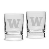 Washington Huskies Luigi Bormioli 11.75 oz Square Round Double Old Fashion Glass - Set of 2
