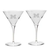 Michigan Wolverines Luigi Bormioli 10 oz Titanium Martini Glass - Set of 2