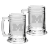 Michigan Wolverines 15 oz Colonial Tankard-Set of 2