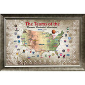 NBA Franchise Framed 20x32 Map Collage Featuring Game Used Net
