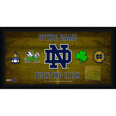 Notre Dame 10x20 Framed Sign with Game used piece of Bench and all 4 Logos