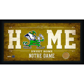Notre Dame Fighting Irish Logo 10x20 Framed Home Sweet Home Sign with game Used Football Dirt