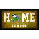 Notre Dame Fighting Irish Logo 10x20 Framed Home Sweet Home Sign with game Used Bench