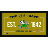 Notre Dame Fighting Irish Logo 10x20 Framed KIDS CAVE sign with Game used football dirt