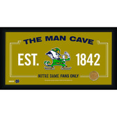 Notre Dame Fighting Irish Logo 10x20 Framed MAN CAVE sign with Game used football dirt