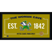 Notre Dame Fighting Irish Logo 10x20 Framed WOMAN CAVE sign with Game used football dirt