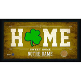 Notre Dame Shamrock Logo 10x20 Framed Home Sweet Home Sign with game Used Football Dirt