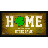 Notre Dame Shamrock Logo 10x20 Framed Home Sweet Home Sign with game Used Bench