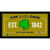 Notre Dame Shamrock Logo 10x20 Framed KIDS CAVE sign with Game used football dirt