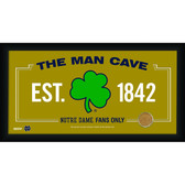 Notre Dame Shamrock Logo 10x20 Framed MAN CAVE sign with Game used football dirt