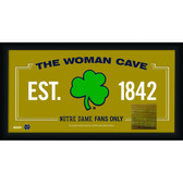 Notre Dame Shamrock Logo 10x20 Framed WOMAN CAVE sign with Game used piece of Bench