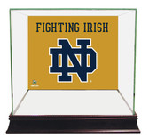 Notre Dame Fighting Irish ND Logo Gold Background Glass Mini Helmet Case