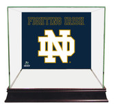 Notre Dame Fighting Irish ND Logo Blue Background Glass Mini Helmet Case