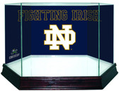 Notre Dame Fighting Irish ND Logo Blue Background Glass Football Case