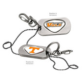 "Tennessee Volunteers  Dog Tag Key Chain TENNESSEE ""VOLS""/TENNESSEE CAPITAL T"