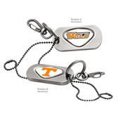 "Tennessee Volunteers  Dog Tag Key Chain TENNESSEE ""VOLS""/TENNESSEE CAPITAL T"