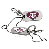 "Texas A&M Aggies  Dog Tag Key Chain TEXAS A&M ""ATM""/TEXAS A&M STATE ATM"