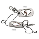 Wyoming Cowboys  Dog Tag Key Chain WYOMING COWBOY JOE/WYOMING WORD