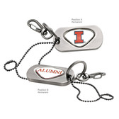 Illinois Fighting Illini Alumni  Dog Tag Key Chain ILLINOIS CAPITAL I/ALUMNI