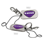 Kansas State Wildcats Alumni Dog Tag Key Chain K STATE WORDS/ALUMNI